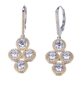 Reign Reign Sterling Silver Gold Plated CZ Dangle Earrings