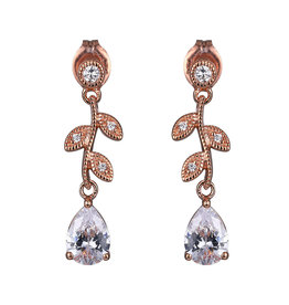Reign Reign Sterling Silver Rose Gold Plated CZ Dangle Earrings