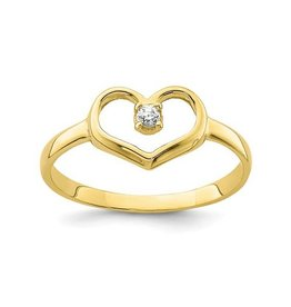 Yellow Gold Baby Heart CZ Ring