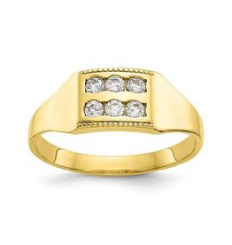 Yellow Gold Baby Polished CZ Ring