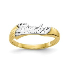 Yellow Gold and Rhodium Baby Ring