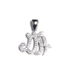 Silver Allah CZ Rhodium Plated Pendant