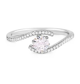 Sterling Silver Ladies CZ Ring with Side Stones