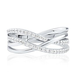 Sterling Silver CZ Criss Cross Ladies Ring
