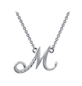 Lafonn Lafonn Initial M Simulated Diamond Sterling Silver Necklace