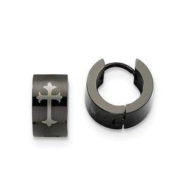 Black Steel Mens Hoop Earrings Laser Engraved Cross