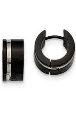 Black Stainless Steel Mens Hinged Polished Hoop Earrings