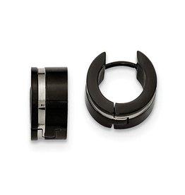 Stainless Steel Two Tone 7mm Black Plated Huggie Earrings