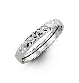 10K White Gold Diamond Cut Stackable Band