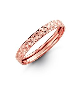 10K Rose Gold Eclipse Ladies Diamond Cut Stackable Band