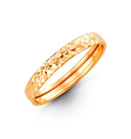 10K Yellow Gold Eclipse Ladies Diamond Cut Stackable Band