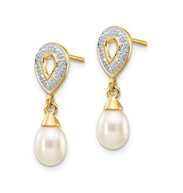 Yellow Gold Teardrop Pearl Diamond Dangle Earrings