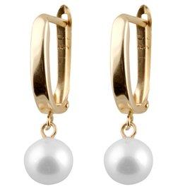 14K Yellow Gold (8mm) Freshwater Pearl Drop Earrings