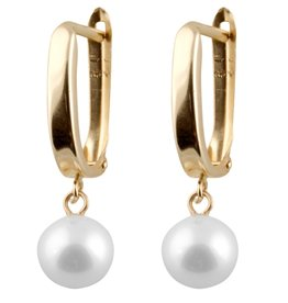 Yellow Gold Freshwater Pearl Dangle Earrings