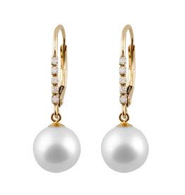 14K Yellow Gold (0.05ct) Pearl and Diamond Dangle Earrings