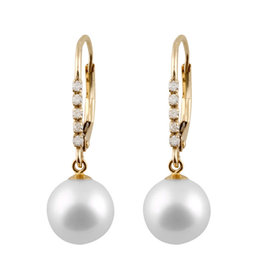Yellow Gold Pearl and Diamond Dangle Earrings