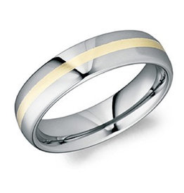 Torque Torque Tungsten and 18K Yellow Gold (6mm) Mens Band