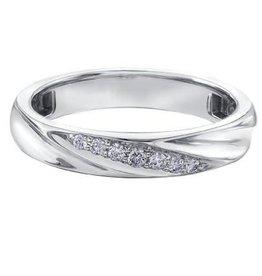 Ladies 18K White Gold (0.10ct) Diamond Band