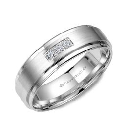 Crown Ring Crown Ring White Gold Mens Diamond Band Brushed Centre 0.15ct.