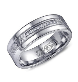 Torque Torque 7mm White Cobalt and Diamond Mens Ring