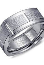 Torque Size 10 Cobalt Band with 10K White Gold Hammered Center Finish