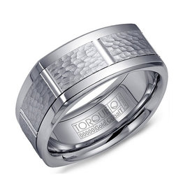Torque Cobalt Band with White Gold Hammered Center Finish (9mm)