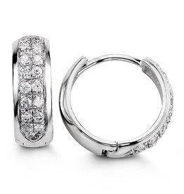 Sterling Silver Pavee Set CZ Huggie Hoop Earrings