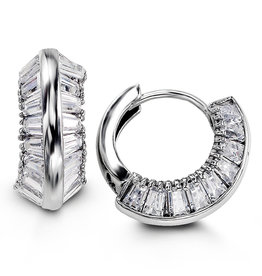 Sterling Silver Baguette Set CZ Huggie Hoop Earrings