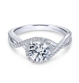 Gabriel & Co Gabriel & Co Courtney 14k White Gold Round Twisted Diamond Mount -Cust