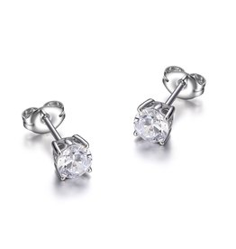 Reign Reign Sterling Silver 5mm CZ Stud Earrings