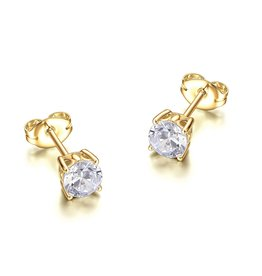 Reign Reign Sterling Silver Yellow 5mm CZ Stud Earrings