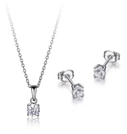 Reign Reign Sterling Silver CZ Necklace and Earring Set