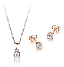 Reign Reign Sterling Silver Rose CZ Necklace and Earring Set