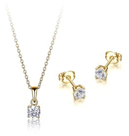 Reign Reign Sterling Silver Yellow CZ Necklace and Earring Set
