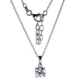 Reign Reign Sterling Silver 7mm CZ Solitaire Necklace