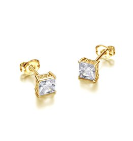 Reign Reign Sterling Silver Yellow Princess Cut CZ Stud Earrings