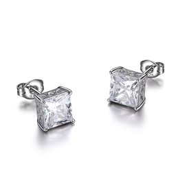 Reign Reign Sterling Silver 5.8mm Princess Cut CZ Stud Earrings