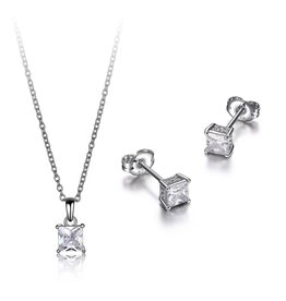 Reign Reign Sterling Silver Princess Cut CZ Necklace and Earring Set