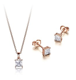 Reign Reign Sterling Silver Rose Princess Cut CZ Necklace and Earring Set