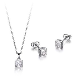 Reign Reign Sterling Silver Bezel Set Princess Cut CZ Necklace and Earring Set