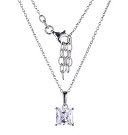 Reign Reign Sterling Silver 6.8mm Princess Cut CZ Necklace
