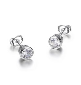 Reign Reign Sterling Silver 5.5mm Bezel Set CZ Earrings