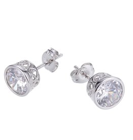 Reign Reign Sterling Silver 7.5mm Bezel Set CZ Earrings