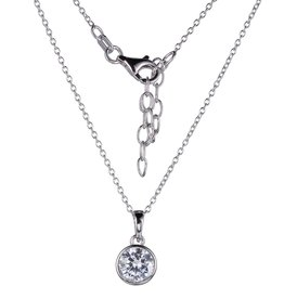 Reign Reign Sterling Silver 8mm Bezel Set CZ Necklace