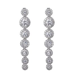 Reign Reign Sterling Silver Halo CZ Drop Earrings