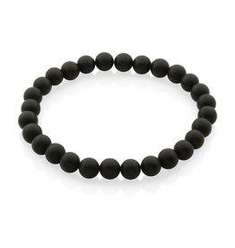 """Steelx Steelx Matte Black Agate Beaded Bracelet 8.5"""""""