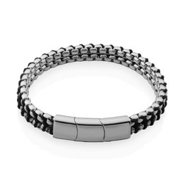 Steelx Steelx Stainless Steel Polished Chain with Black Cotton Cord Bracelet