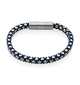 Steelx Steelx Stainless Steel Polished Chain with Blue Cotton Cord Bracelet