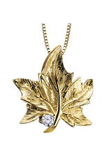 Maple Leaf Diamonds 10K Yellow Gold (0.03ct) Canadian Diamond Maple Leaf Pendant