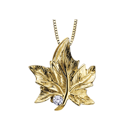 Maple Leaf Diamonds 10K Yellow Gold (0.03ct) Canadian Diamond Maple Leaf Pendant